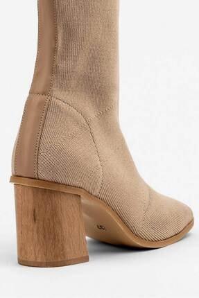 MELSU Kadın Bej Küt Burun Çorap Bot 3
