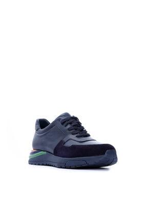 Kemal Tanca Erkek Lacivert Deri Sneaker 160 3691 1