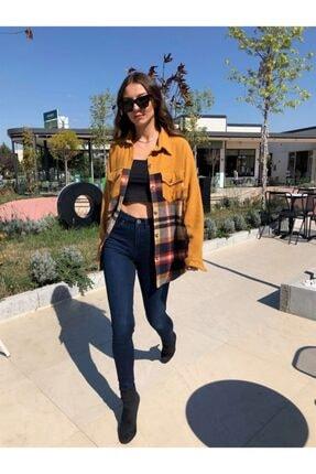 Kadın Koyu Mavi Skinny Jean Pantolon TRAFSPN127