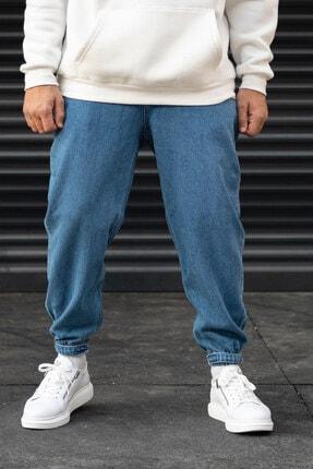 Modayı Tıkla Erkek Mavi Oversize Boyfriend Paçası Cırt Cırtlı Jogger Kot Pantolon 2
