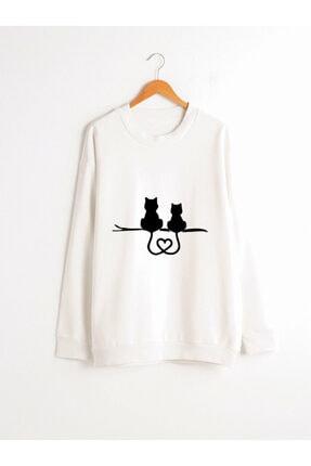 Dizzy Unisex Beyaz Baskılı Sweatshirt 0