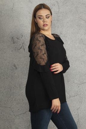 Ebsumu Kadın Siyah Büyük Beden Kol Fırfırlı Transparan Detaylı Bluz 3