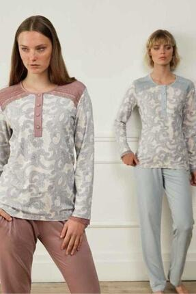 Kadın Mavi Pijama Takımı 3567 FE3567B-MAVI-4XL