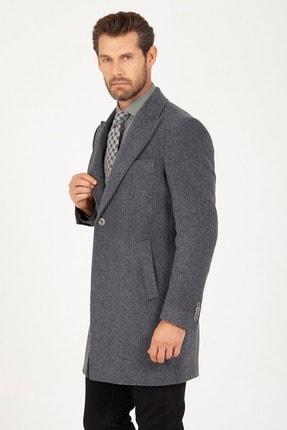 Erkek Gri Kırlangıç Yaka Yünlü Palto resmi