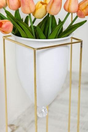 MHK Collection Altın Renkli 2'li Büyük Ayaklı Vazo 3