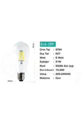 Heka Led Rustik Şeffaf 6 W Beyaz Işık Ampul 6500k 1
