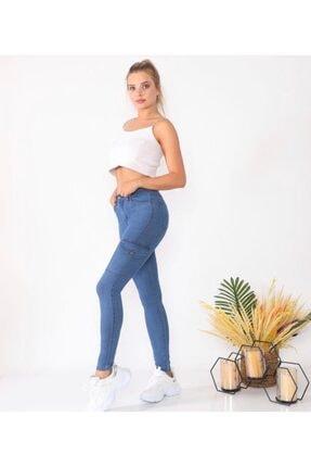 Mstrendbutik Kadın Mavi Yüksek Bel   Kargo Cep  Kot Pantolon 1