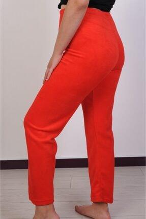Melay Kadın Kırmızı Likralı Beli Lastikli Yüksek Bel Polar Pijama Altı 1