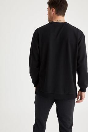Defacto Erkek Siyah Oversize Fit Bisiklet Yaka Basic Sweatshirt 3