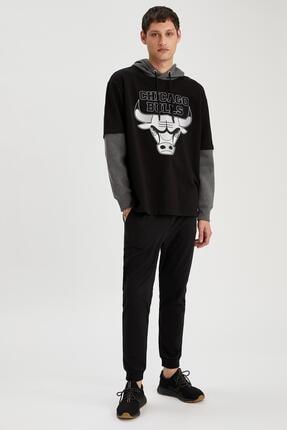Defacto Fit Erkek Siyah Fit Kapüşonlu Sweatshirt 1