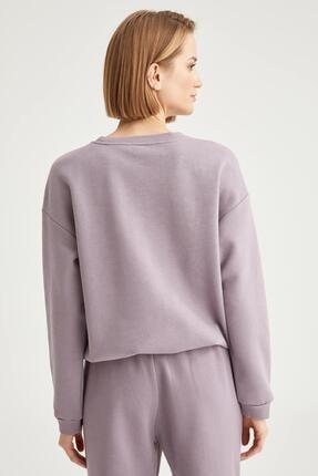 Defacto Kadın Lila Yazı Baskılı Relax Fit Sweatshirt 3