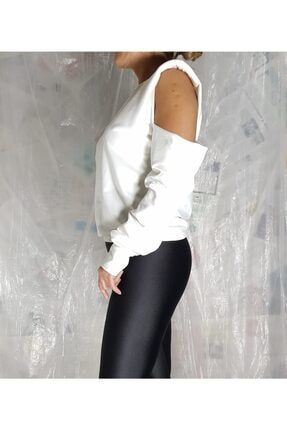 Aktrist Kadın Ekru Kol Dekolteli Sweatshirt 1