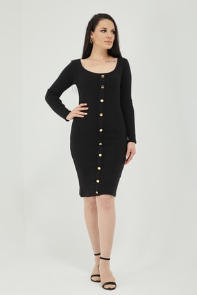 Qupa Butik Önü Düğmeli Kaşkorse Elbise 1