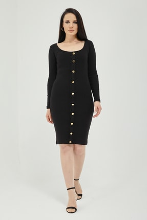 Qupa Butik Önü Düğmeli Kaşkorse Elbise 2