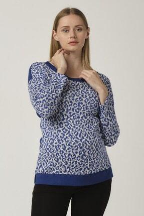 Mavi Hamile Desenli Arkadan Bağcıklı Bluz 5602-42