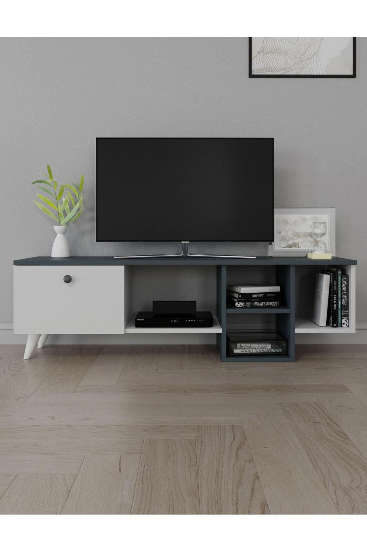 Antrasit Televizyon Sehpası Kutu Raflı Tv Ünitesi Salon Mobilyası