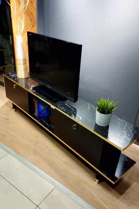 Modline Gold Mermer 180 Cm Çift Kapaklı Tv Sehpası - Gtv-1968 4