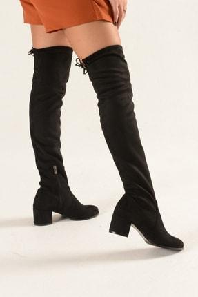 Nil Shoes Kadın Siyah Süet Streç Çizme 3