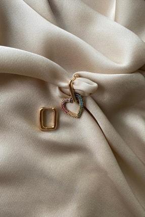 Madame Daisy Bijuteri Ithal Vip Serisi Mix Taşlı Gold Kalp Küpe 1