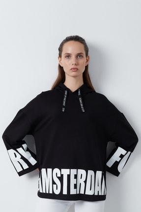 Lela Kadın Siyah Yazı Baskılı Kapüşonlu Örme Sweatshirt 1