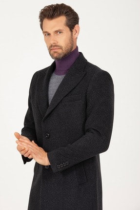 Erkek  Antrasit Kırlangıç Yaka Yünlü Palto resmi