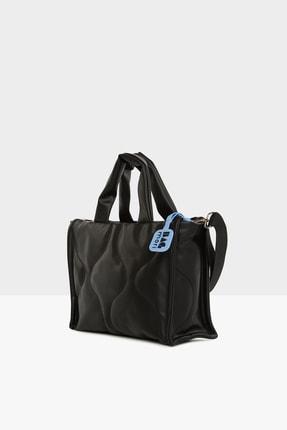 Bagmori Kadın Siyah Oval Nakışlı Puf Şişme Çanta M000005405 1