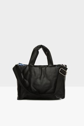Bagmori Kadın Siyah Oval Nakışlı Puf Şişme Çanta M000005405 2