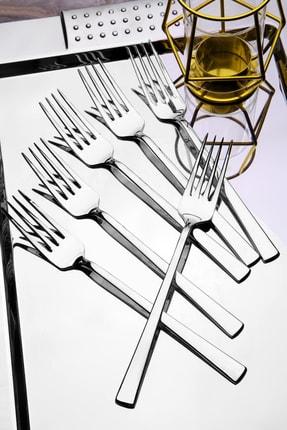 Kitchen Life 6 adet Lüx Titanyum Gümüş Yemek Çatal Seti 0