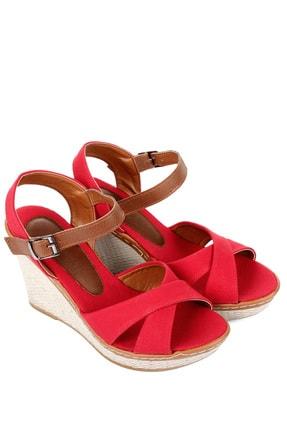 GÖNDERİ(R) Kırmızı Keten Kadın Sandalet 37701 3