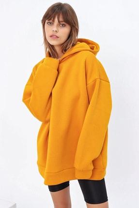 Ecrou Kadın Hardal 3 Iplik Oversize Kapşonlu Sweatshirt 1