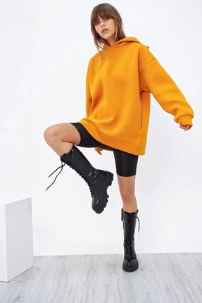 Ecrou Kadın Hardal 3 Iplik Oversize Kapşonlu Sweatshirt 2
