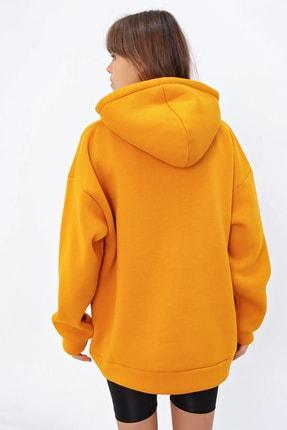 Ecrou Kadın Hardal 3 Iplik Oversize Kapşonlu Sweatshirt 3