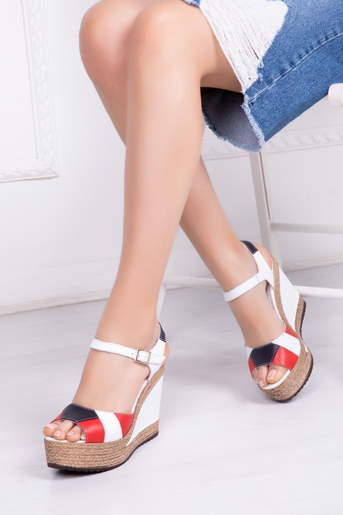 Deripabuc Hakiki Deri Tommy Kadın Dolgu Topuklu Deri Sandalet Dp42-0703