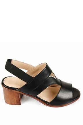 GÖNDERİ(R) Kadın Siyah Hakiki Deri Sandalet 45633 2