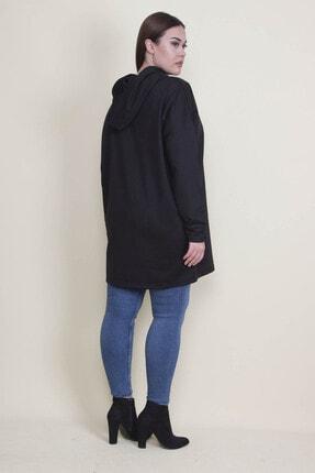 Şans Kadın Siyah Kapşonlu Kanguru Cepli Sweatshirt 65N21332 2