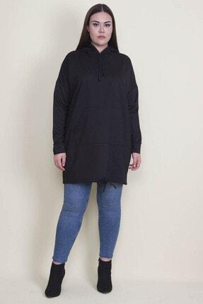 Şans Kadın Siyah Kapşonlu Kanguru Cepli Sweatshirt 65N21332 3
