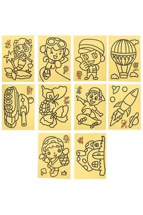 Magic Hobby 10 Adet A4 Boyutunda Kum Boyama Seti 1