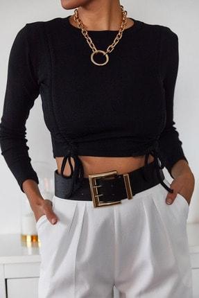 Xena Kadın Siyah Büzgülü Bluz 1KZK2-11036-02 2