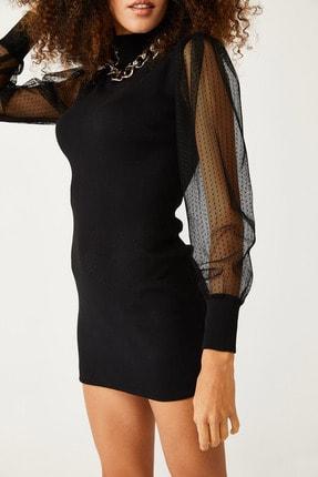 Picture of Kadın Siyah Kolları Tüllü Elbise 1KZK6-11077-02