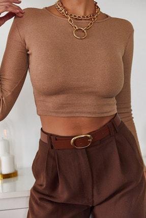 Xena Kadın Kahverengi Sırt Detaylı Bluz 1KZK2-11034-18 3