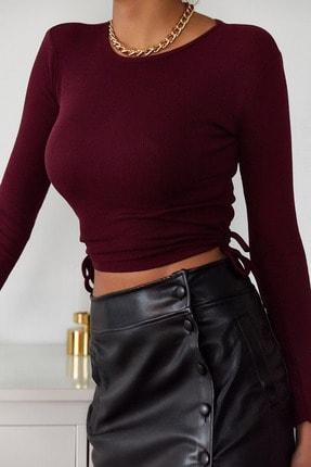 Xena Kadın Bordo Yanları Bağlamalı Bluz 1KZK2-11038-05 1