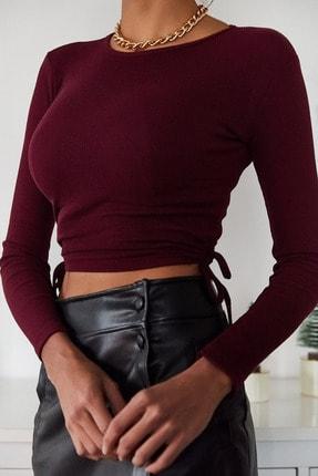 Xena Kadın Bordo Yanları Bağlamalı Bluz 1KZK2-11038-05 2