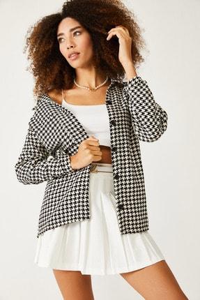XHAN Beyaz & Siyah Kazayağı Desenli Yünlü Ceket Gömlek 1kxk2-44432-01 2