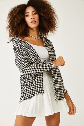 XHAN Beyaz & Siyah Kazayağı Desenli Yünlü Ceket Gömlek 1kxk2-44432-01 3