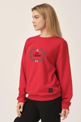 to COSMOS Oversize Sweatshirt Kırmızı Merry Christmas Geyik 2