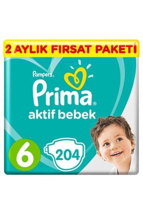 Prima Unisex Bebek Bezi Aktif Bebek 6 Beden Ektra Large 2 Aylık Fırsat Paketi 204'lü 0