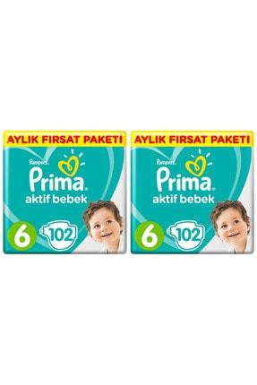 Prima Unisex Bebek Bezi Aktif Bebek 6 Beden Ektra Large 2 Aylık Fırsat Paketi 204'lü 1