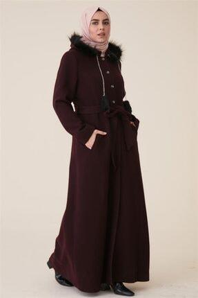Kadın Bordo Uzun Pamuklu Pardesü resmi