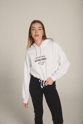 Eka Kadın Beyaz Kapüşonlu Baskılı Beli Bağcıklı Şardonlu Sweatshirt 1