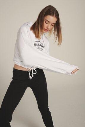 Eka Kadın Beyaz Kapüşonlu Baskılı Beli Bağcıklı Şardonlu Sweatshirt 2